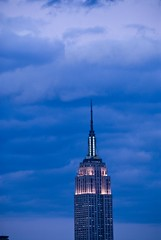 Empire State Building, from Hudson River, New York City (dkjphoto) Tags: city nyc newyorkcity travel usa newyork building tourism skyline architecture night clouds america skyscraper river tour unitedstates manhattan broadway johnson tourist northamerica hudsonriver empirestatebuilding hudson dennisjohnson wwwdenniskjohnsoncom