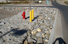 rock garden (brew4ice) Tags: red streets yellow grey rocks poles fireplug