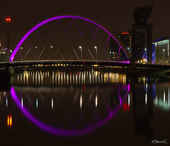 Squinty Bridge (StevieC-Photography) Tags: longexposure night canon scotland riverclyde nightlights glasgow secc thearmadillo finniestoncrane clydeauditorium squintybridge clydearc steviec
