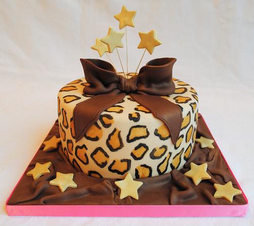 Leopard Print Star Burst Birthday Cake