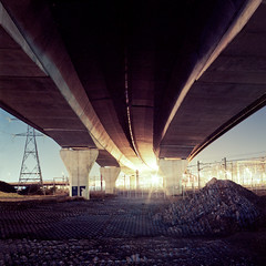 Made in Dagenham (Kenneth Ipcress) Tags: longexposure bridge 6x6 film night mediumformat lights highway industrial motorway kodak 88 kiev essex flyover dagenham concerte arsat ektar 88cm 80mmf28 ektar100 kennyip