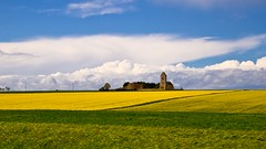 Eglise de Bretteville le Rabet (14) (Lucien Vatynan) Tags: green church yellow clouds jaune la meadow olympus vert normandie prairie nuages campagne normandy glise calvados colza estrees epl1 mygearandme