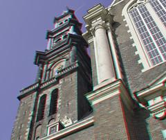 Westerkerk Amsterdam 3D (wim hoppenbrouwers) Tags: holland amsterdam 3d anaglyph stereo prinsengracht westertoren westerkerk redcyan hendrickdekeyser