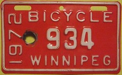 WINNIPEG MANITOBA 1972 ---BICYCLE LICENSE PLATE (woody1778a) Tags: world auto canada cars car bike bicycle sign vintage winnipeg edmonton photos tag woody plate tags licenseplate collection number photographs license plates foreign 1972 numberplate licenseplates numberplates licenses cartag carplate carplates autotags cartags autotag foreigns pl8s worldplates worldplate foreignplates platetag