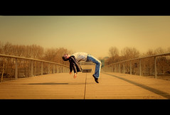 I'm in trouble... (Cal Redback) Tags: bridge paris jump levitation gravity pont saut gravit lvitation calredback