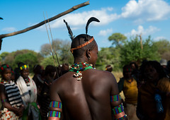 Hamer tribe whipper during a bull jumping ceremony, Omo valley, Turmi, Ethiopia (Eric Lafforgue) Tags: africa people color men horizontal outdoors necklace community day african ceremony feather culture tribal celebration whip blackpeople bead omovalley rearview ethiopia tribe ethnic groupofpeople whipper hamar developingcountry hamer traditionalculture hornofafrica ethnology ethiopian eastafrica abyssinia traditionalclothing blackskin waistup turmi africanethnicity indigenousculture bullleaping bulljumping cowjumping comingofagecelebration blackethnicity ethiopianethnicity ethio163696