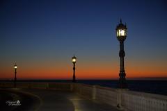 Cdiz - Sunset (MarcialCG) Tags: sunset sea orange atardecer mar serenity cdiz farolas naranja lampposts serenidad