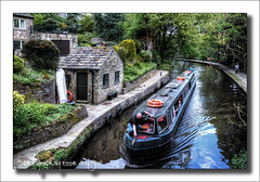 Huddersfield Narrow Canal, Uppermill. (Fermat48) Tags: water canal boathouse barge narrowboat lifebelts uppermill dobcross huddersfieldnarrowcanal