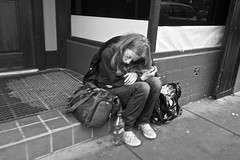 Turk Street, Tenderloin - San Francisco, CA (Rex Mandel) Tags: sf sanfrancisco street blackandwhite bw monochrome homeless sidewalk heroin junkie tenderloin streetperson fetalposition heroinaddict womanjunkie gakked