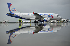 Airbus reflection (Nick Aviator) Tags: sky reflection water airplane airport aviation airline airbus spotting a319 planespotting domodedovo uralairlines