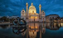 Karlskirche | Vienna | Austria (darkcloud154) Tags: vienna longexposure nightphotography blue orange reflection austria nikon europe nightscape angle tripod wide wideangle bluehour nikkor karlskirche 1635 karlplatz d810 mefoto hahnel gigapro