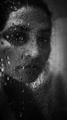Rain is... (Nassia Kapa) Tags: portrait bw woman inspiration selfportrait blur me wet water face rain night contrast self dark shower mirror experimental poem fuji shadows body sharp soul fujifilm unusual soulful feelings uncommon x100 nassiakapa