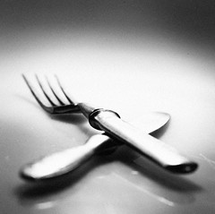 Two (Dmytro Tolokonov) Tags: old two white black reflection utensils kitchen monochrome vintage table antique object pair knife fork nobody surface retro subject cutlery oldfashioned
