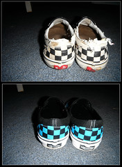 out with the old... (Makenzie McDowell) Tags: collage shoes vans thenandnow
