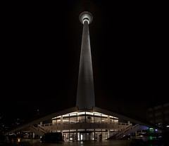 Fernsehturm (Panorama) (Samuel Turley) Tags: panorama berlin night photoshop photo nightscape image centre central panoramic together fernsehturm manual scape merge merged manually cs4