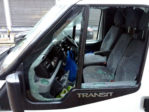 Broken Window Theory, burgled fish van, Hackney, London, UK.jpg