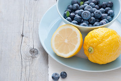 Blueberries and lemon (letterberry) Tags: food fruits lemon berries blueberries