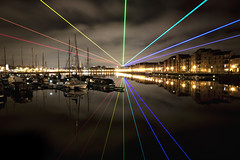 Yvette Mattern Global Rainbow (mrcheeky2009) Tags: raw preston lasertechnology longexsposure riversway americanartist horizontalrainbow prestonguild yvettemattern globalrainbow laserinstallation prsetondocks