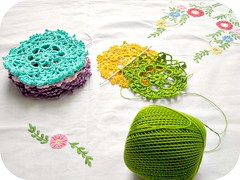 pieces of rainbow (a n a ) Tags: pink blue winter green home yellow rainbow crochet doily lilas torquoise doillies