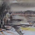 "<b>Fall, Clay County</b><br/> Cyrus Running (1913-1976) ""Fall, Clay County"" Watercolor, 1962 LFAC #533<a href=""http://farm8.static.flickr.com/7060/6852262713_d656b71cc9_o.jpg"" title=""High res"">∝</a>"