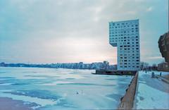 Ice wind sundown (snertmetworst) Tags: meer pentax wit helder almere analoog