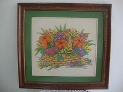 CANASTA CON FLORES (punto de cruz con sandra) Tags: flores de punto cruz canasta lilas cuadro lirios bordado