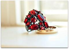 Day 11: Something Red (BellaLago) Tags: morninglight redring costumejewelery februaryphotochallengeday11somethingred thisisoneofmyfavoriterings ringsonthewindowsill
