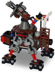 Anti-Aircraft Steam Quad-Walker Mk. XLIII (side) (aillery) Tags: war lego military great steam motor machines windup motorized steampunk antiaircraft nonelectric