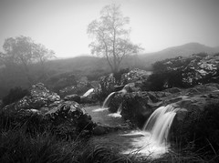 Glen of Weeping B/W (kenny barker) Tags: trees winter bw mist monochrome fog lumix scotland rocks falls explore glencoe shockofthenew landscapeuk panasonicg1 kennybarker