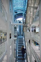 zeilgalerie (Cybergabi) Tags: blue white germany frankfurt escalator shoppingmall figure zeilgalerie