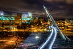 Pedestrian Bridge (Justin in SD) Tags: bridge eastvillage night canon dark lights harbor highresolution downtown ship sandiego sd conventioncenter late lit hdr petco pedestrianbridge highres harbordrive petcopark highquality canon60d shipbridge