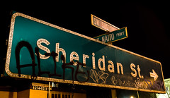 Sheridan (Curtis Gregory Perry) Tags: street green sign st night oregon portland graffiti nikon long exposure boulevard grafitti grafiti button arrow left sheridan copy klotter d300    barbur   bandalismo        coretan      graift  mbishkrime