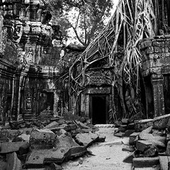 Fade Away (NoahSud) Tags: old blackandwhite bw building monochrome architecture analog square outdoors blackwhite asia cambodia kambodscha southeastasia khmer stones buddhist nopeople unescoworldheritagesite unesco worldheritagesite squareformat aged siemreap angkor verwittert welterbe unescowelterbe analogcamera dopplr:explore=a081 noahsud