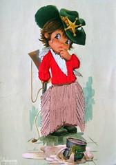 Vintage Big Eyed Boy Embroidered Postcard (Sillyshopping) Tags: boy cute green illustration vintage spain 60s sweet postcard spanish card 70s embroidered collectable bigeyed vintagecard sillyshopping