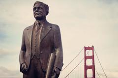 Joseph B. Strauss Memorial (Leighton Wallis) Tags: sanfrancisco california birthday ca sculpture usa statue memorial unitedstatesofamerica architect goldengatebridge presidio 75thanniversary ggnpc11 southernvistapoint