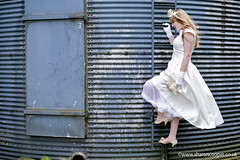 The Runaway Bride! (sosij) Tags: blue wedding 3 bride silo climbing gloves weddings tor proposal petticoat leapyear runawaybride sharoncooper beaubuttons