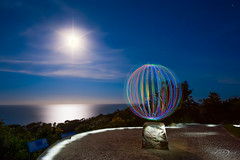 Barrenjoey Light Bubble (Bruce_Hood) Tags: ocean sky moon lightpainting night stars australia newsouthwales palmbeach barrenjoey
