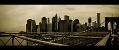 New York City (Surrealplaces) Tags: new york city newyorkcity skyline sepia brooklyn manhattan pano brooklynbridge