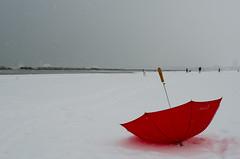 Contrasti (scarpace87) Tags: red sea people snow water skyscraper nikon mare wind bokeh background rimini persone neve grattacielo acqua rosso spiaggia vento ombrello sfondo beachumbrella 35mmf2 d7000