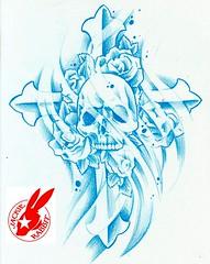 skull cross tattoo design by jackie rabbit (Jackie rabbit Tattoos) Tags: roses art tattoo skull design virginia cross flash gothic roanoke starcity jackierabbit