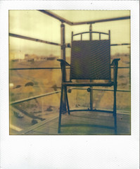 vacant (Ben Wolfarth) Tags: life road wood old original light sun color colour reflection green slr film beach nature yellow vintage project polaroid sx70 photography one 1 coast lomo lomography model chair triangle warm soft spirit balcony empty seat hill grain lofi dream first retro tip shade frame heat analogue flush railing tones 70 generation ff bohemian pola scarbrough folding 680 impossible sx px px680 instang