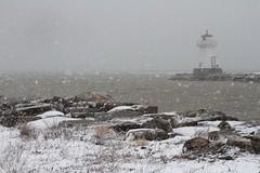 Snowy Lighthouse (Bert CR) Tags: winter lighthouse snow storm harbour blizzard iceandsnow