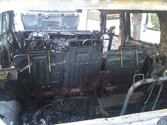Inside rear of burnt H2 (nabeeloo) Tags: nyc ny newyork car fire drive driving harlem manhattan burn hummer h2 hummvee hmmvv