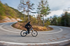 Left turn! (Nick-K (Nikos Koutoulas)) Tags: trees orange mountain bike bicycle forest nikon downhill panning f4 vr 1635mm   d700