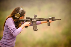 Shoot like a girl ... if you can (stickgunner) Tags: stickman m4 ar15 carbine ctr tactical aimpoint magpul magpulgirl