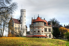 Castle Lichtenstein / Germany (Habub3) Tags: park travel autumn vacation house building tree tower castle nature leaves architecture germany landscape deutschland reisen nikon europa europe urlaub herbst natur haus historic architektur alb schloss turm landschaft baum hdr medival vacanze burg lichtenstein 2012 hostorical d300 mittelalter schwbischealb wrttemberg reutlingen fairytail holday mrchenschloss habub3 middleadge mygearandme