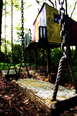 Just a Swingin' (Nux Pix (Home Treating a Tough Knee Injury)) Tags: kids canon children is woods backyard colorful pix dof bokeh swing americana playhouse efs clubhouse nux 18135mm 60d nuxpix