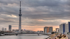 Walking in Minami-Senju (Camera Freak) Tags: city urban tower japan river tokyo nikon asia cityscape metropolis townscape sumida hdr antenna minamisenju tonemapped photomatixpro skytree d700