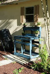 Completed Potting Bench and Garden (The Bella Modiste) Tags: blue green rustic recycle pallets ecofriendly reuse reduce gardentable pottingtable upcycled pottingbench makedo ordowithout madefromrecycledwood