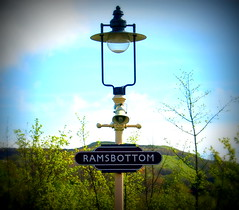 Sign at Ramsbotom railway station (Tony Worrall) Tags: uk england lamp station sign town track northwest north rail railway visit tourist tony steam east signage british times welcome past relic olden lancs ramsbottom bygone ramsbottomstation theeastlancashirerailway ©2012tonyworrall